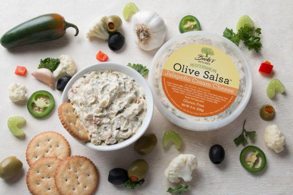 Beckis Jalapeño Cream Cheese Mediterranean Olive Salsa